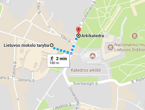 "Picture no. 1. Directions from the bus stop ""Arkikatedra"" to Lithuanian Academy of Sciences (LAS)."